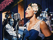 Nightclub Painting Framed Prints - Billie Holiday - Lady Sings The Blues Framed Print by Jo King