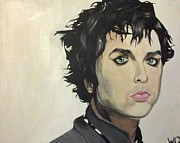 Green Day Paintings - Billie Joe Armstrong by Willow Quillen