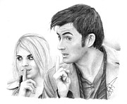 Billie Framed Prints - Billie Piper and David Tennant 2 Framed Print by Rosalinda Markle