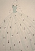 Ball Gown Pastels Framed Prints - Billowing Blue  Framed Print by Christine Corretti