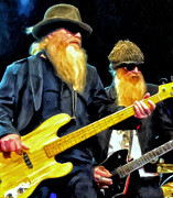Bands Painting Prints - Billy Gibbons and Dusty Hill of ZZ Top Print by Michael Pickett