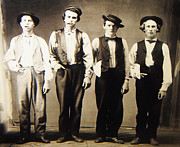 Holliday Prints - Billy the Kid Doc Holliday Jesse James and Charlie Bowdre Print by Unknown