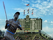 Billy Williams Chicago Cub Statue Print by Thomas Woolworth