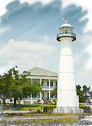 Joan Mccool Metal Prints - Biloxi Lighthouse Sketch Photo Metal Print by Joan McCool