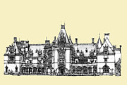 Personalized Drawings Prints - Biltmore Estate in Asheville Print by Lee-Ann Adendorff