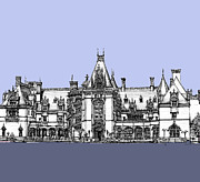 Invitations Drawings Posters - Biltmore Estate in blues Poster by Lee-Ann Adendorff