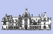 Gothic Drawings Prints - Biltmore Estate in light blue Print by Lee-Ann Adendorff