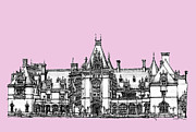 Registry Drawings Framed Prints - Biltmore Estate in pink Framed Print by Lee-Ann Adendorff