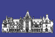 Gift Drawings Framed Prints - Biltmore Estate in royal blue Framed Print by Lee-Ann Adendorff
