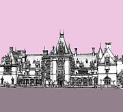 Wedding Venue Drawings Prints - Biltmore Estate pink and lilac Print by Lee-Ann Adendorff