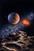 Planet Earth Painting Posters - Binary Red Dwarf Star System Poster by Lynette Cook