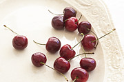 Bing Art - Bing Cherries and White Plate by Rich Franco