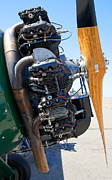 Airplane Engine Photos - BIPLANE EXHAUST ENGINE and PROPELLER by Daniel Hagerman
