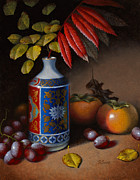 Persimmon Paintings - Birch and Sumac with Persimmons by Timothy Jones