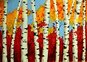 Paiting Posters - Birch Forest Poster by Svilen And Lisa