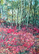 Forest Floor Painting Posters - Birch Grove Poster by Joey Nash