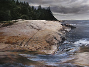 Maine Shore Painting Originals - Birch Point  Maine by Keith Miller