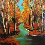 Barbie Paintings - Birch River by Barbie Baughman