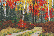 Fall Colors Pastels Posters - Birch Trail Poster by George Burr