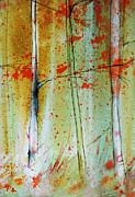 Birch Trees Paintings - Birch Tree Forest Closeup by Jani Freimann