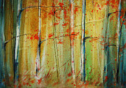 Birch Trees Paintings - Birch Tree Forest I by Jani Freimann