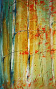 Jewel Tone Paintings - Birch Tree Forest - left by Jani Freimann