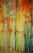 Jewel Tone Paintings - Birch Tree Forest - right by Jani Freimann