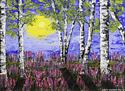 Handmade Trunk Posters - Birch Trees And Lupine Flowers Painting Poster by Keith Webber Jr