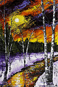 Snowy Trees Paintings - Birch Trees And Stream In Winter by Keith Webber Jr