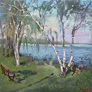 Falls Painting Originals - Birch trees by the River by Ylli Haruni