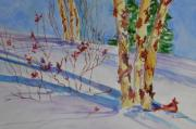 Winter Scene Paintings - Birch Trees in Snow by Gloria Johnson