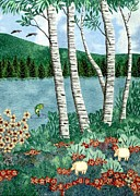Fusing Tapestries - Textiles Framed Prints - Birch Trees Framed Print by Jean Baardsen