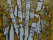 Fine Art Batik Tapestries - Textiles - Birch Trees  by Kristine Allphin