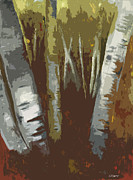 Winter Mixed Media Posters - Birch Trees Poster by Michael  Pattison