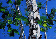 Birch Tree Paintings - Birch Trunk by Willson Lau
