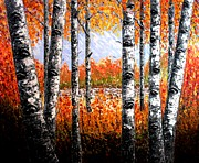 Fall Aspen Originals - Birches Forest palette knife painting by Georgeta Blanaru