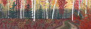 Fall Colors Pastels Posters - Birches Poster by George Burr