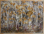 Featured Tapestries - Textiles Framed Prints - Birches Framed Print by Holly McLean
