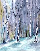 Snowy Trees Paintings - Birches In The Forest by Brenda Owen