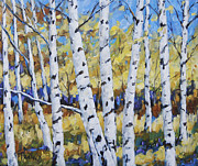 Lanscape Originals - Birches in the Underwood  by Richard T Pranke