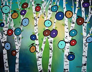 Blackbirds Painting Posters - Birches Poster by Karla Gerard