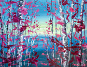 Colorful Mixed Media Posters - Birches Poster by Lyubomir Kanelov