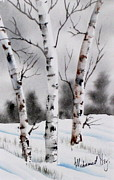 Peaceful Scene Paintings - Birches by Mohamed Hirji