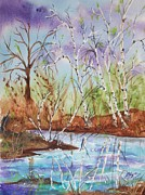 Riverbed Paintings - Birches reflected in Kaaterskill Creek by Ellen Levinson
