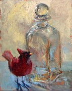 Donna Shortt Painting Posters - Bird and Glass Poster by Donna Shortt