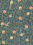Animals Tapestries - Textiles Prints - Bird and Pomegranate Print by William Morris