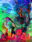 Digital Media Paintings - Bird at Dusk by Robin Mead