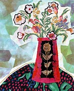 Table Cloth Mixed Media Metal Prints - Bird Blossom Vase Metal Print by Diane Fine