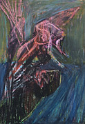 Expressionism Pastels - Bird Carrying Fish by Edgeworth Johnstone