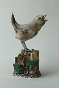 Animals Jewelry Originals - Bird Carving Wren by Nataliia Diu